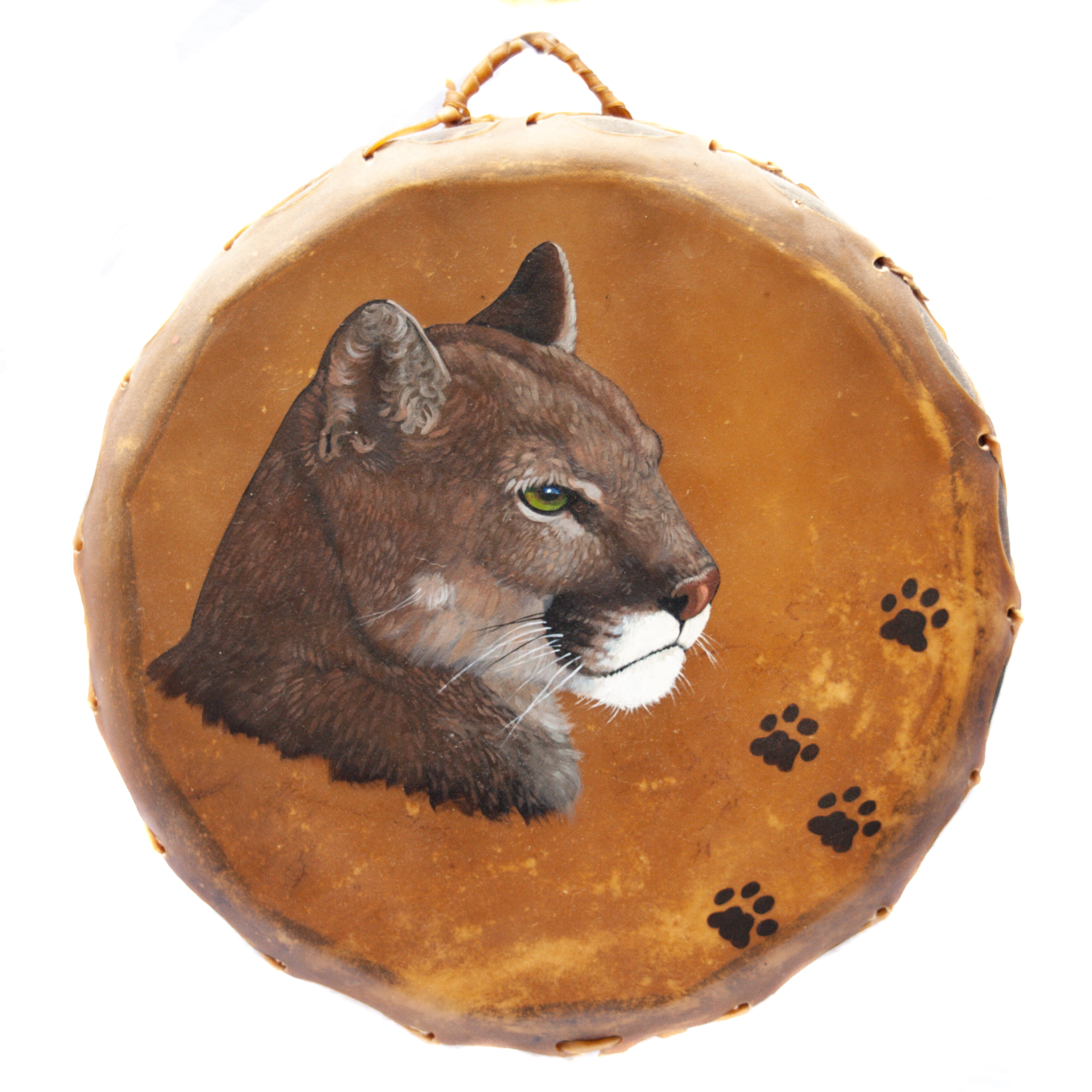 Native American Ceremonial Mountain Lion Drum