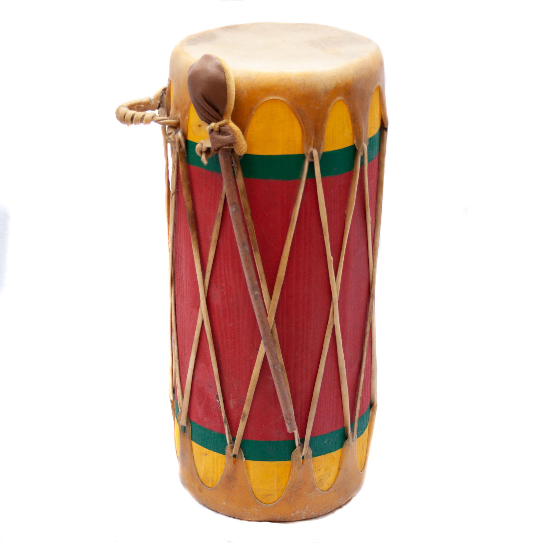 Native American Painted Shamanic Log Drum