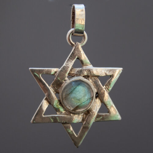 Labradorite Sterling Silver Star Of David Hexagram Pendant