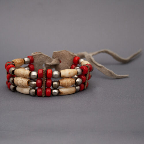 Native American Sioux Buffalo Bone Red Bracelet