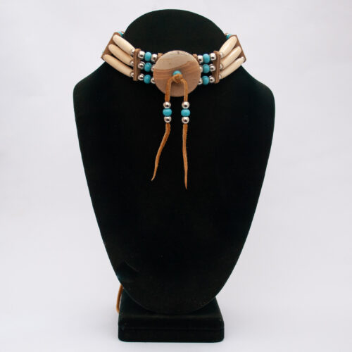 Native American Sioux Jasper Buffalo Bone Choker