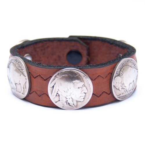 Vintage Indian Head Buffalo Nickel Coin Brown Leather Bracelet