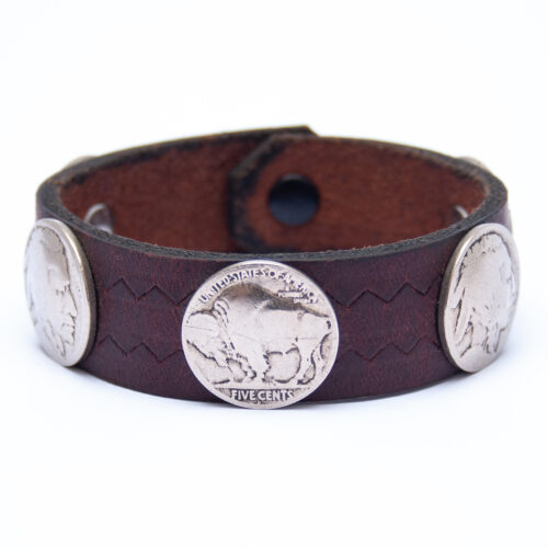 Vintage Indian Head Buffalo Nickel Coin Dark Leather Bracelet
