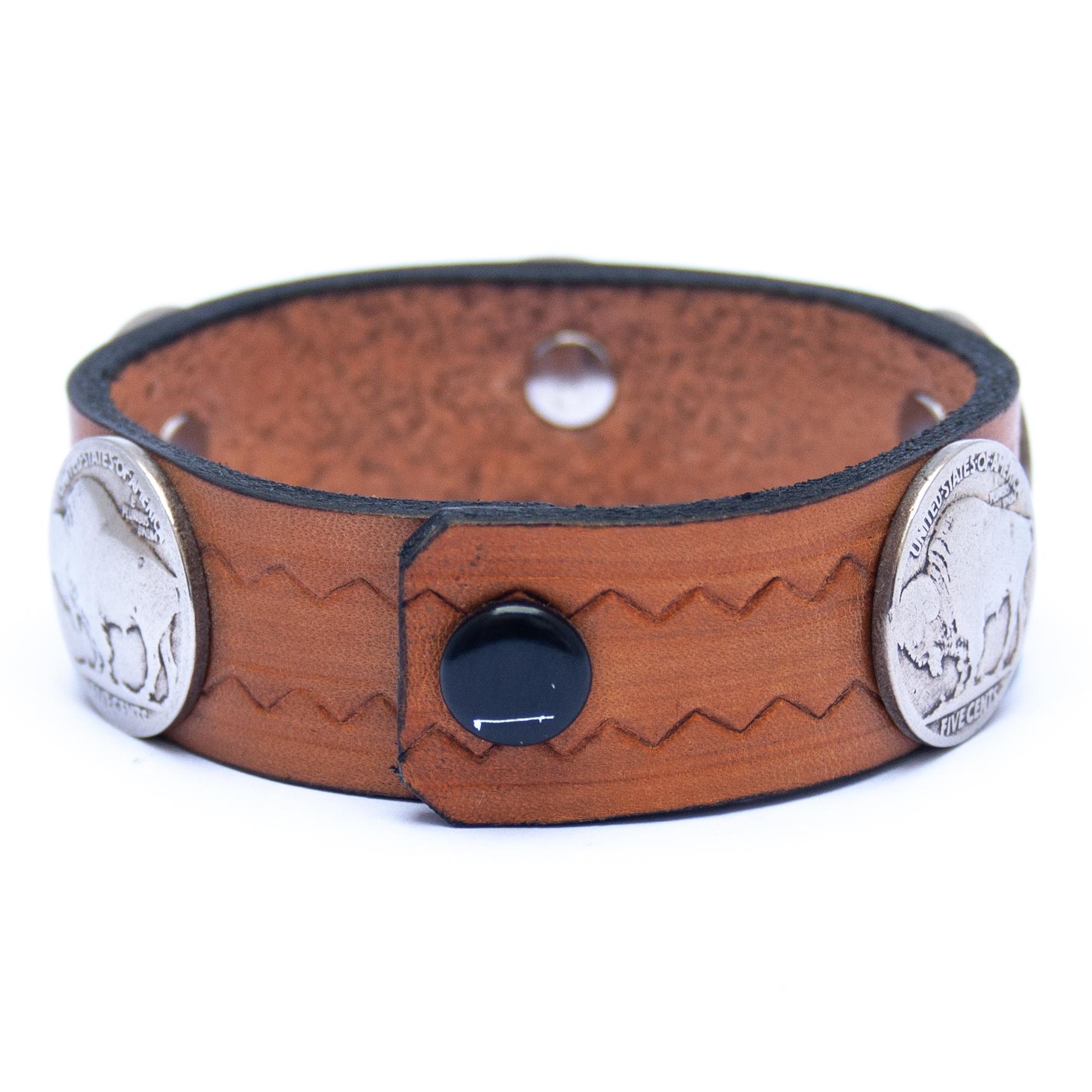 Vintage Buffalo Nickel Coin Tan Leather Bracelet