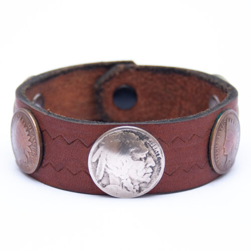 Vintage Indian Head Buffalo Nickel Cent Coin Leather Bracelet