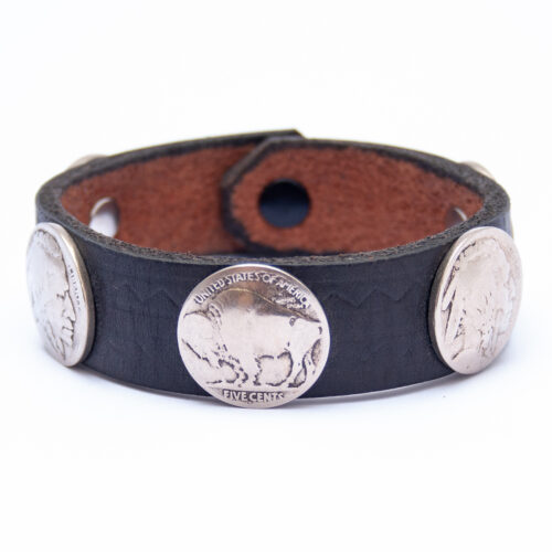 Vintage Indian Head Buffalo Nickel Black Leather Bracelet