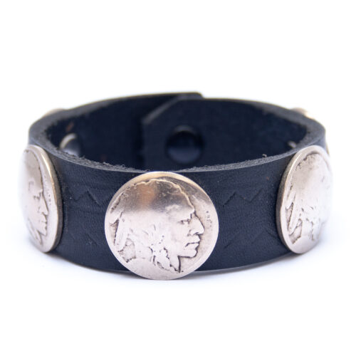 Vintage Indian Head Nickel Coin Black Leather Bracelet