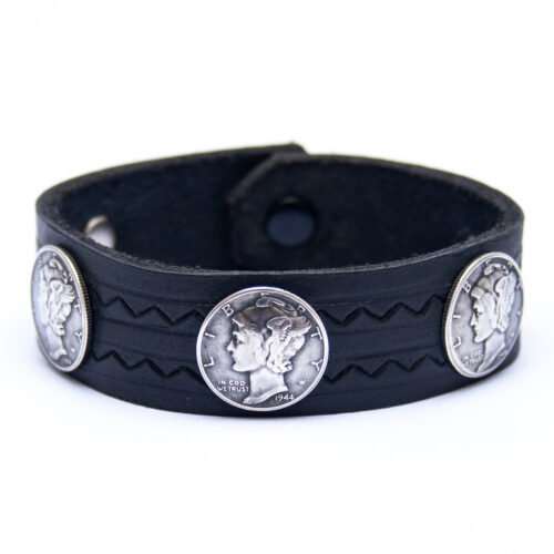 Vintage 1936 1944 Liberty Coin Black Leather Bracelet