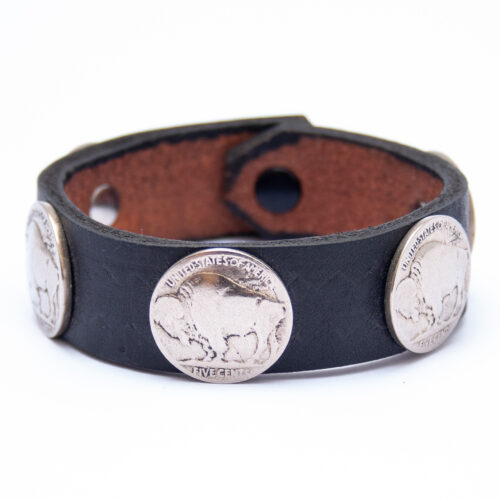 Vintage Buffalo Nickel Coin Black Leather Bracelet