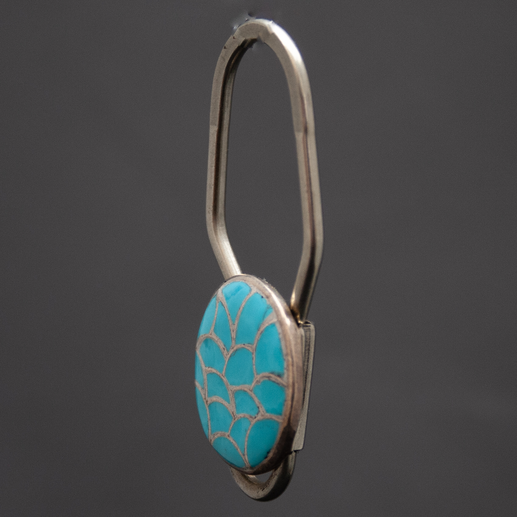 Zuni Turquoise Fish Scale Silver Keyring