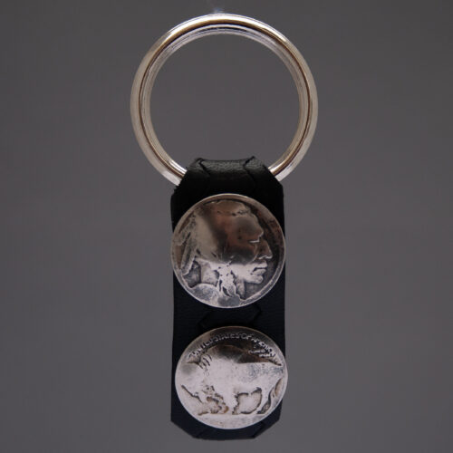 Dylan Hopper Black Leather Old Nickel Keyring