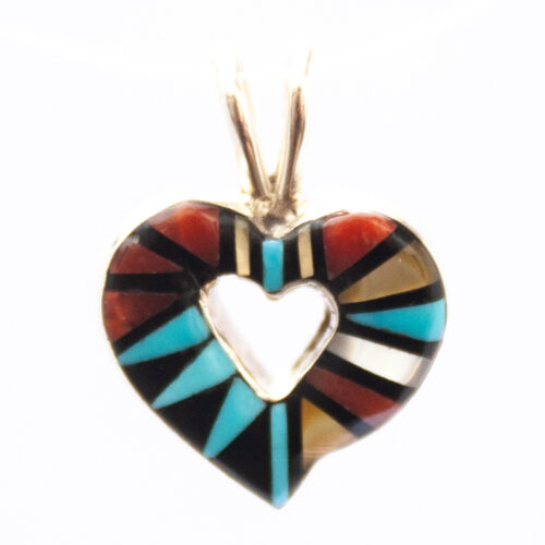 Angelena Laahty Zuni Inlay Heart Necklace