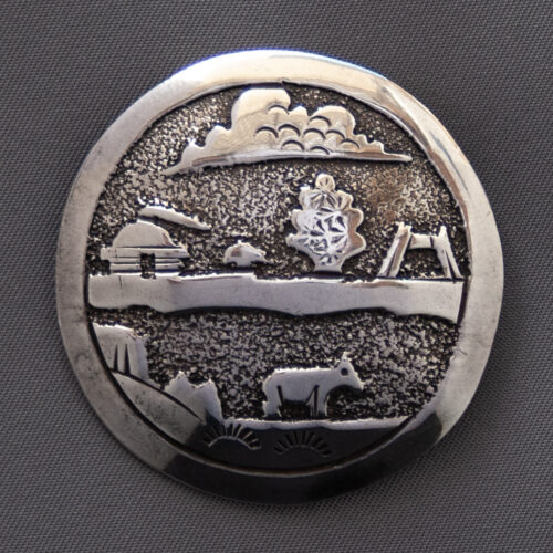 Navajo Country Landscape Silver Pin Brooch