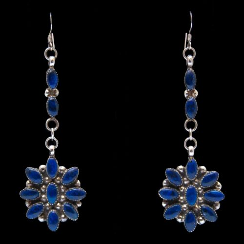 Two-Tier Lapis Lazuli Zuni Drop Earrings