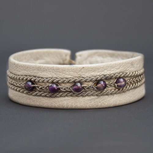 White Leather Silver Pewter Amethyst Sámi Bracelet