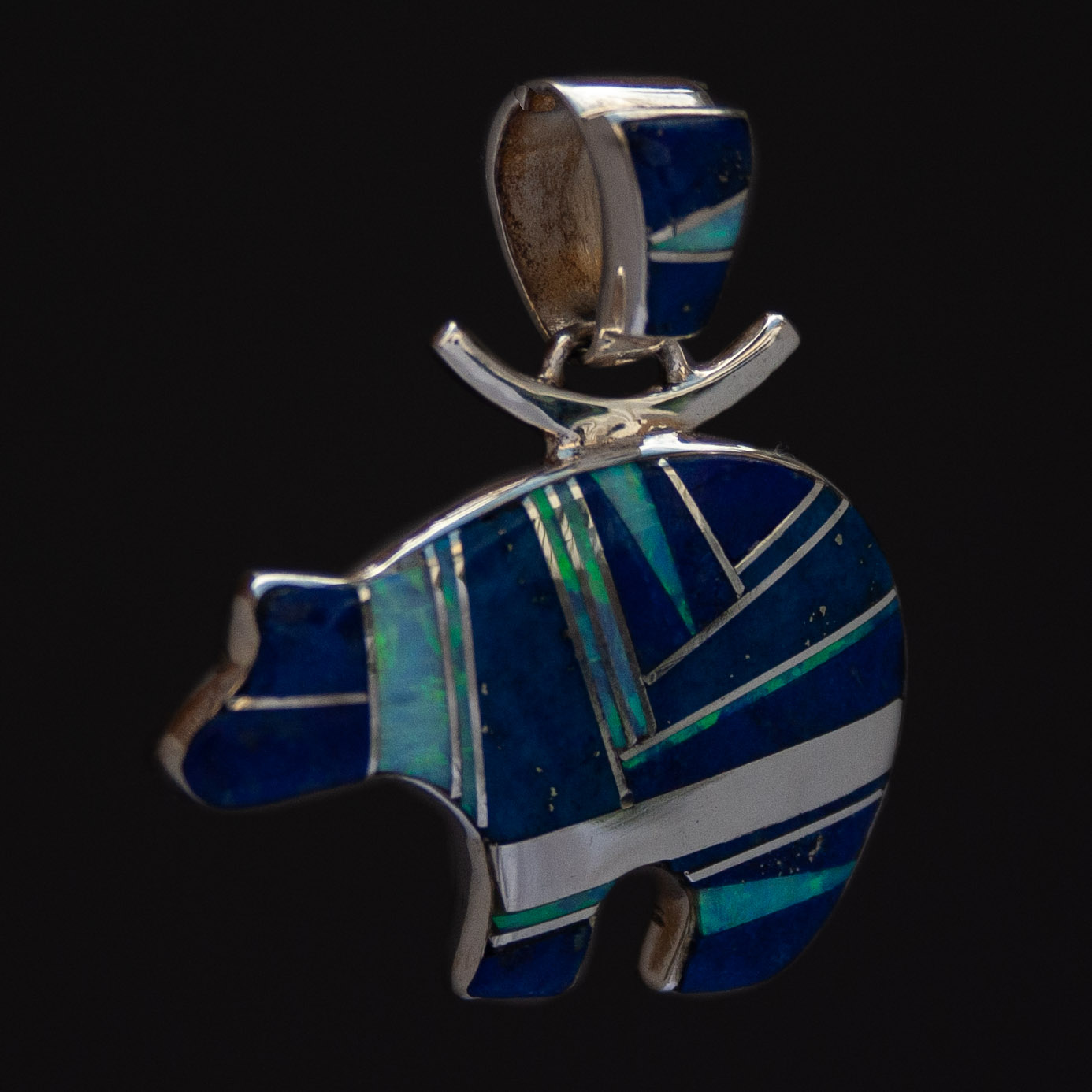 Cathy Webster Lapis Opal Inlay Silver Bear Pendant