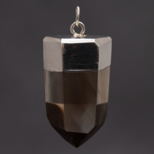 Polished Citrine Point Silver Pendant