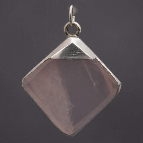 Square Rose Quartz Silver Pendant