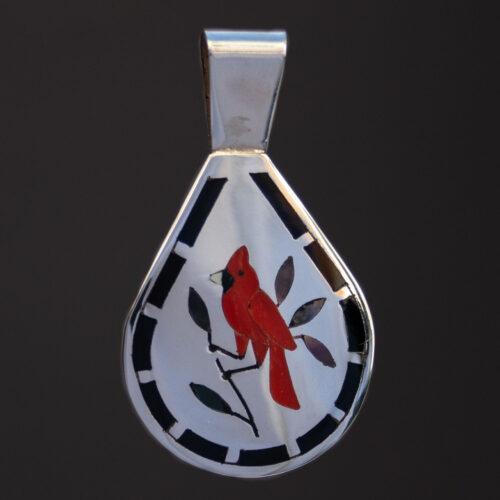 Dennis Nancy Edaakie Red Cardinal Silver Pendant