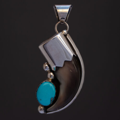 Kathleen Yazzie Bear Claw Turquoise Silver Pendant