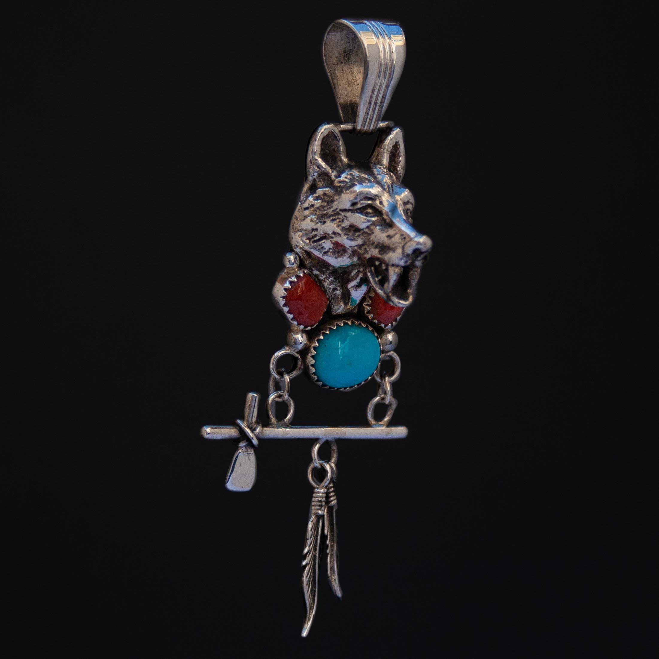 Turquoise Coral Tomahawk Wolf Silver Pendant