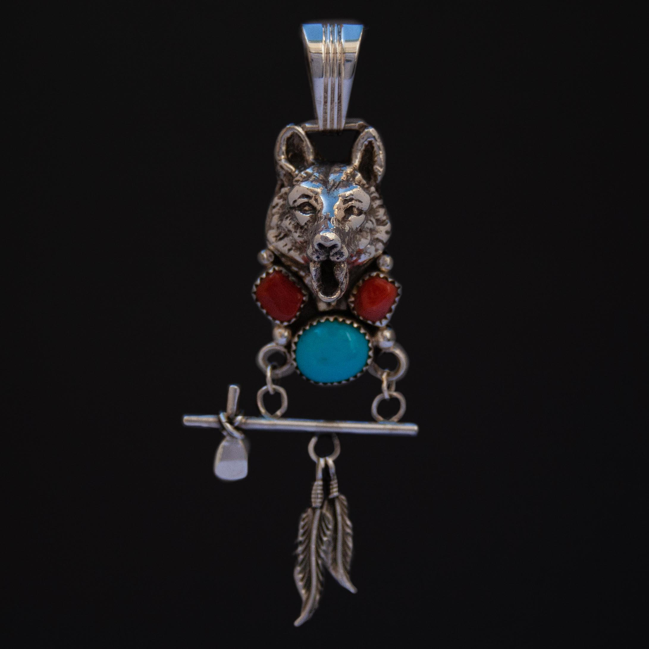 Turquoise Coral Tomahawk Peace Pipe Wolf Silver Pendant