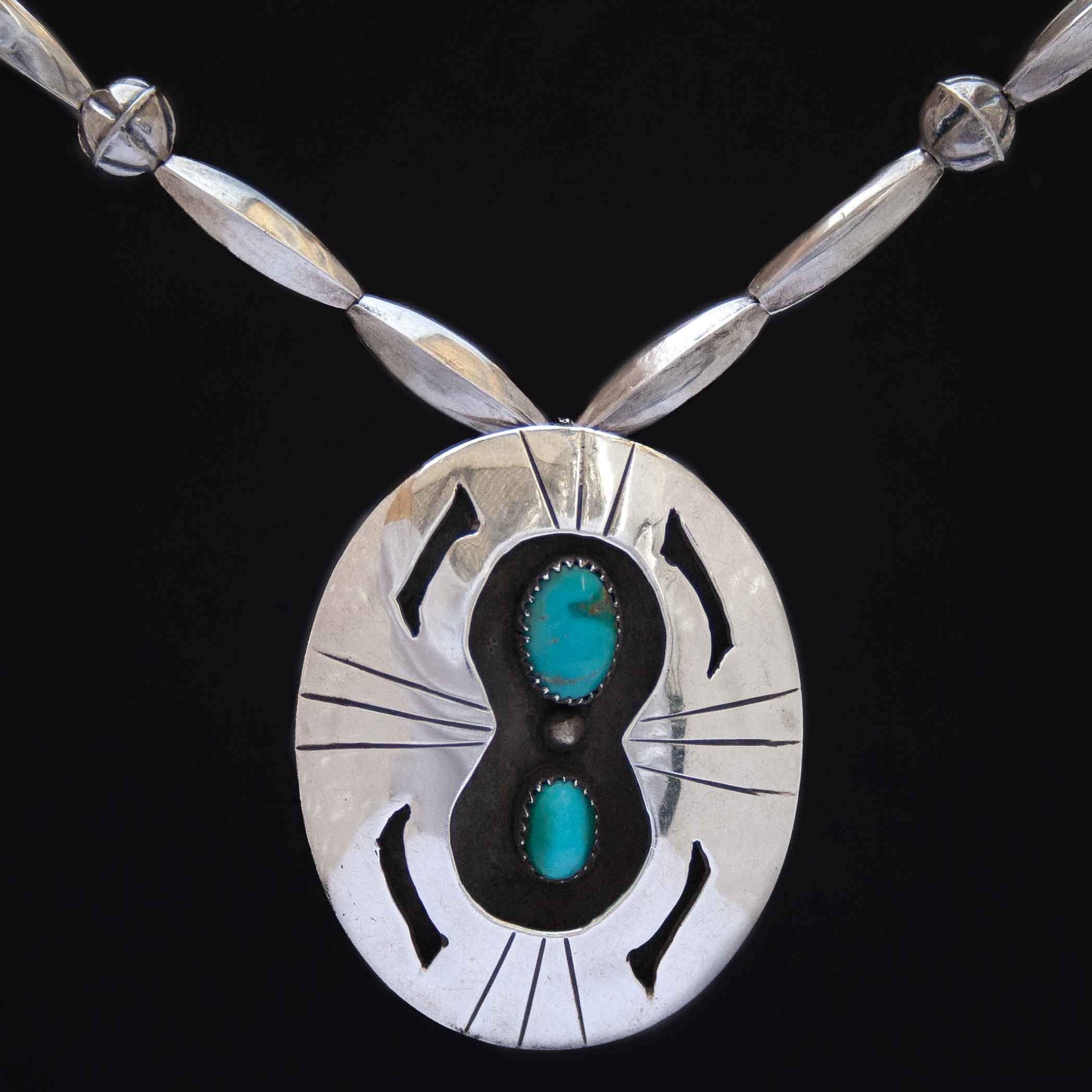 1920's Antique Shadow Box Turquoise Navajo Necklace