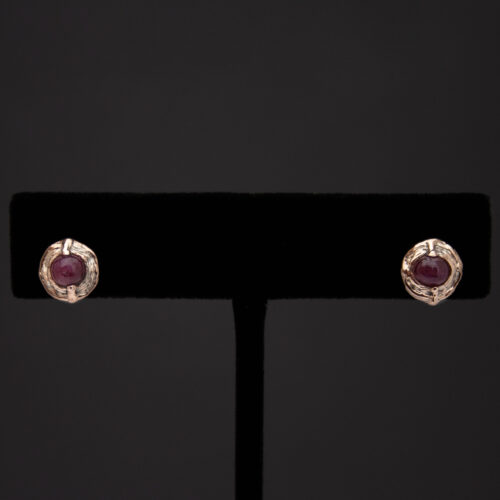 9K Gold Ruby Stud Earrings
