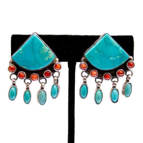 Clarissa Vernon Hale Clip On Turquoise Earrings