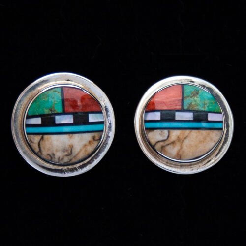 Delbert Kallestewa Zuni Sunface Stud Earrings