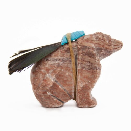 Dolomite Feather Turquoise Bear Carving