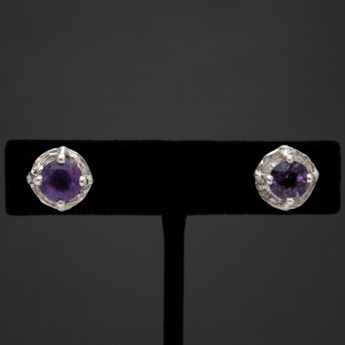 Faceted Amethyst Silver Stud Earrings