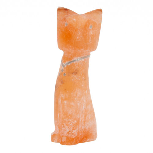 Kenny Chavez Orange Calcite Zuni Cat Carving