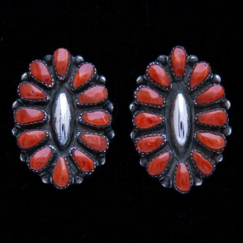 Maryann Felix Chavez Zuni Coral Stud Earrings