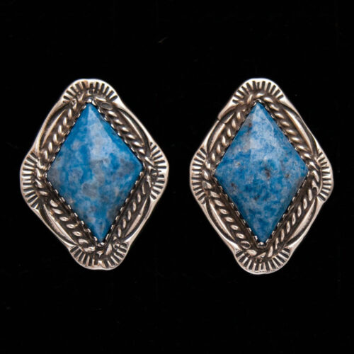Navajo Denim Lapis Lozenge Stud Earrings