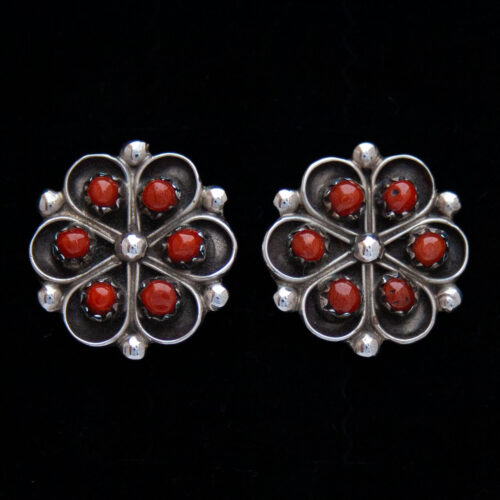 Red Coral Silver Flower Zuni Earring Studs