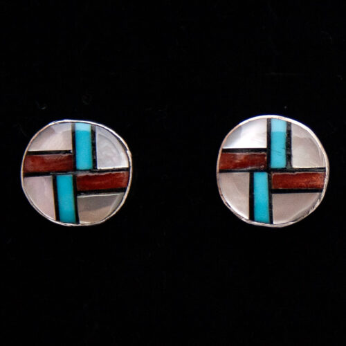 Small Zuni Inlay Swirling Logs Stud Earrings