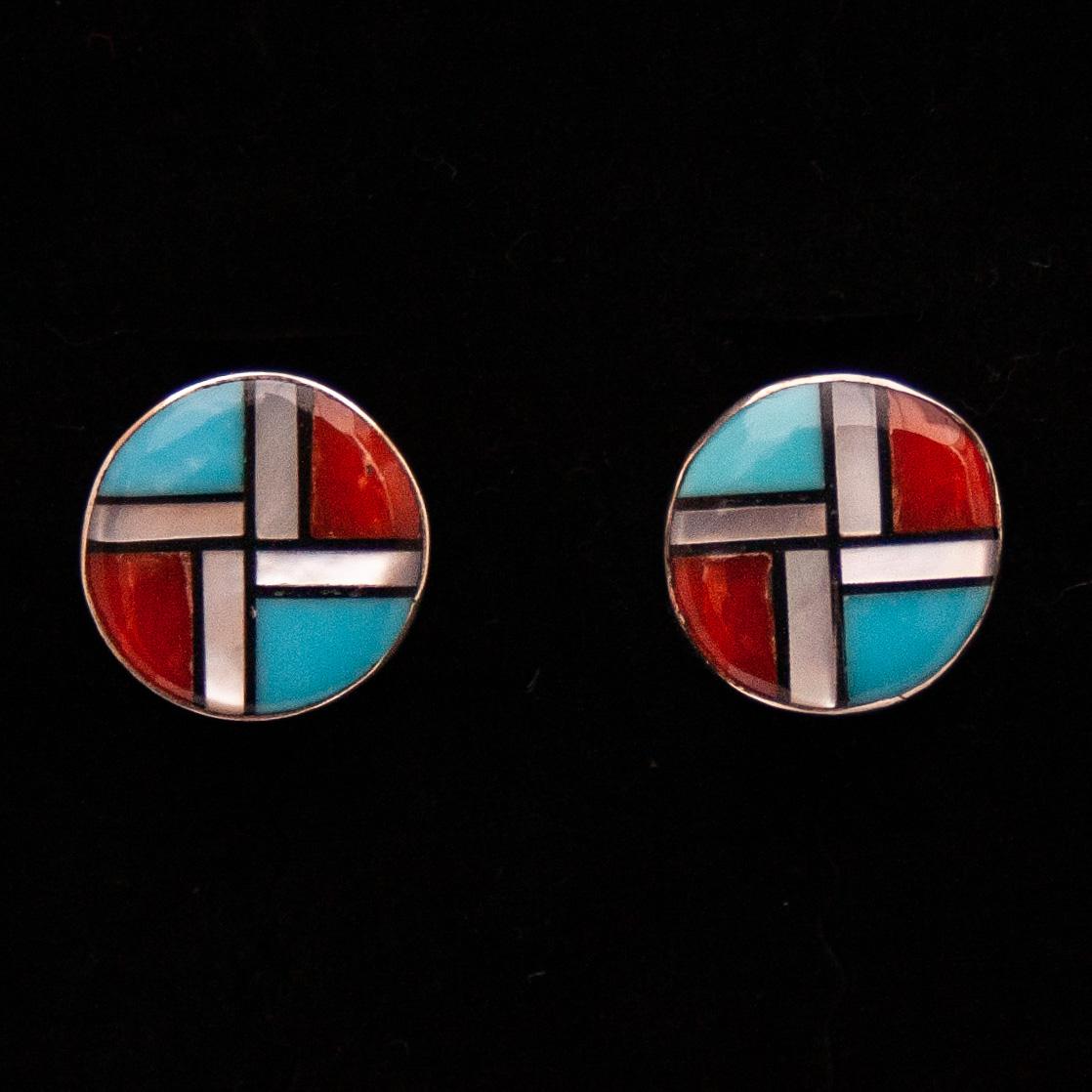 Small Zuni Inlay Whirling Logs Stud Earrings