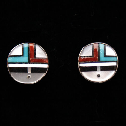 Small Zuni Sunface Inlay Round Earring Studs