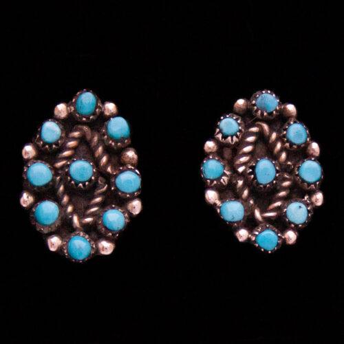 Zuni Lozenge Snake Eyes Turquoise Studs