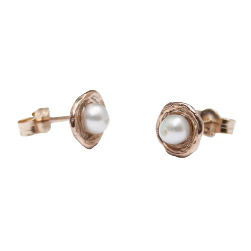 9K Gold Pearl Stud Earrings