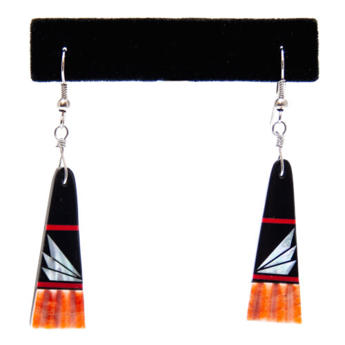 Black White Orange Shell Inlay Earrings