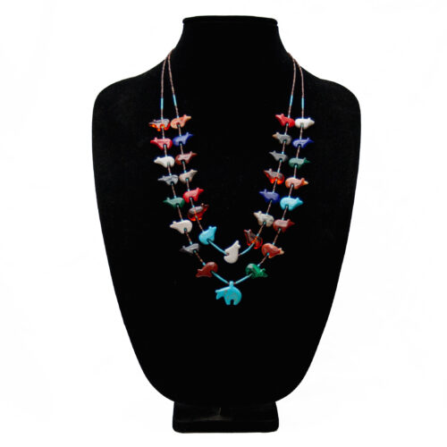 Double Strand Zuni Bear Necklace