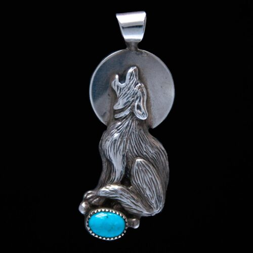 Howling Wolf Silver Turquoise Pendant