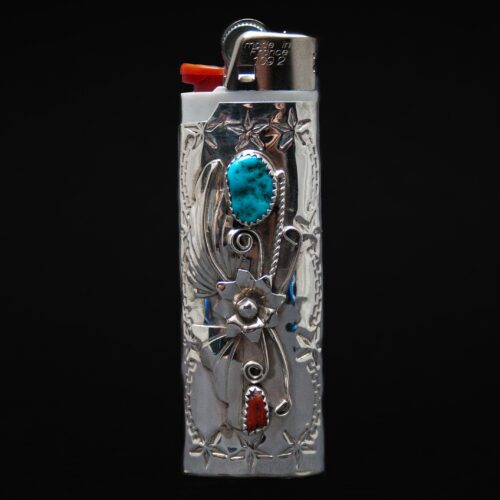 Large Silver Turquoise Coral Navajo Lighter