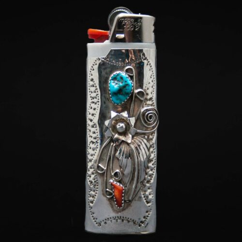 Native American Silver Turquoise Coral Lighter