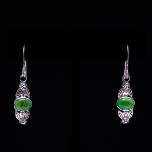 Small Green Variscite Drop Earrings