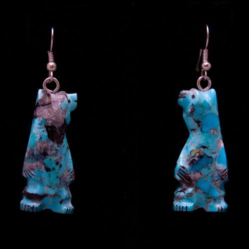 Turquoise Bear Drop Earrings